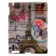 Floral Scripts Butterfly Eiffel Tower Vintage Paris Fashion Apple Ipad 3/4 Hardshell Case by chicelegantboutique