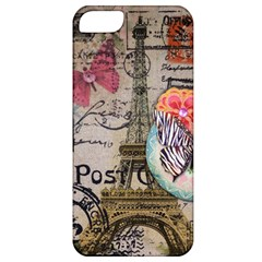 Floral Scripts Butterfly Eiffel Tower Vintage Paris Fashion Apple Iphone 5 Classic Hardshell Case by chicelegantboutique