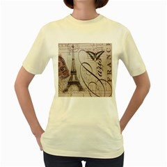 Vintage Scripts Floral Scripts Butterfly Eiffel Tower Vintage Paris Fashion  Womens  T-shirt (yellow) by chicelegantboutique