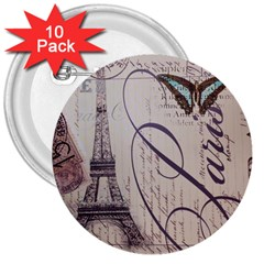 Vintage Scripts Floral Scripts Butterfly Eiffel Tower Vintage Paris Fashion 3  Button (10 Pack) by chicelegantboutique