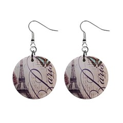 Vintage Scripts Floral Scripts Butterfly Eiffel Tower Vintage Paris Fashion Mini Button Earrings