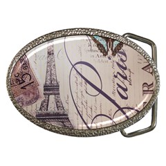 Vintage Scripts Floral Scripts Butterfly Eiffel Tower Vintage Paris Fashion Belt Buckle (oval) by chicelegantboutique
