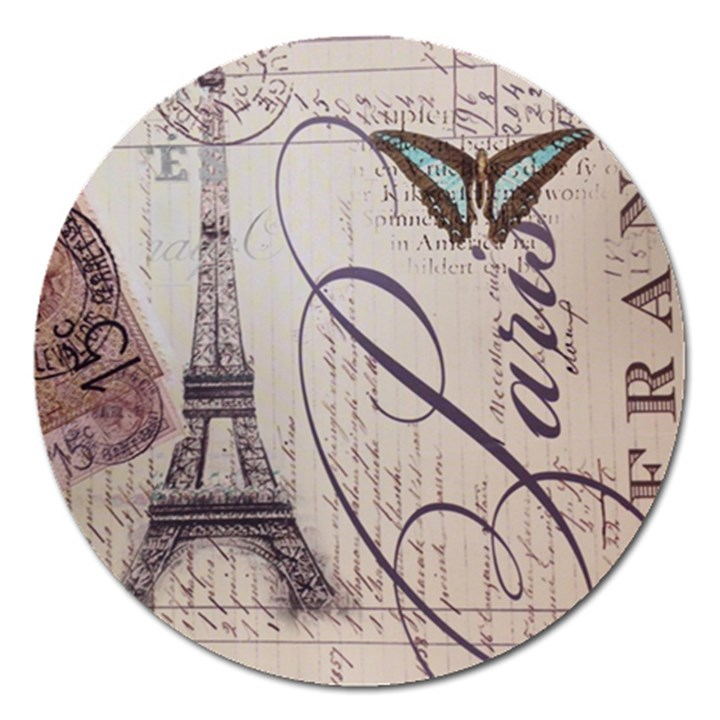 Vintage Scripts Floral Scripts Butterfly Eiffel Tower Vintage Paris Fashion Magnet 5  (Round)