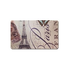 Vintage Scripts Floral Scripts Butterfly Eiffel Tower Vintage Paris Fashion Magnet (name Card) by chicelegantboutique