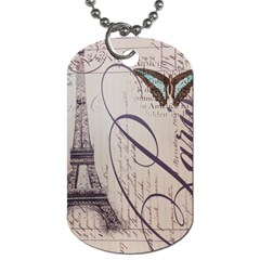 Vintage Scripts Floral Scripts Butterfly Eiffel Tower Vintage Paris Fashion Dog Tag (one Sided) by chicelegantboutique