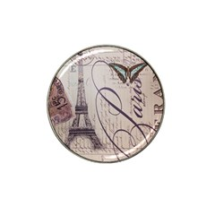 Vintage Scripts Floral Scripts Butterfly Eiffel Tower Vintage Paris Fashion Golf Ball Marker (for Hat Clip)