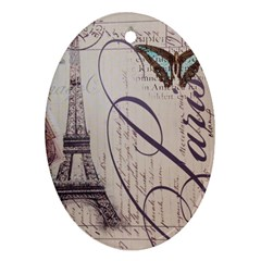 Vintage Scripts Floral Scripts Butterfly Eiffel Tower Vintage Paris Fashion Oval Ornament (two Sides) by chicelegantboutique
