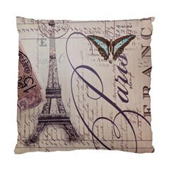 Vintage Scripts Floral Scripts Butterfly Eiffel Tower Vintage Paris Fashion Cushion Case (two Sided)  by chicelegantboutique