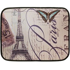 Vintage Scripts Floral Scripts Butterfly Eiffel Tower Vintage Paris Fashion Mini Fleece Blanket (two Sided) by chicelegantboutique