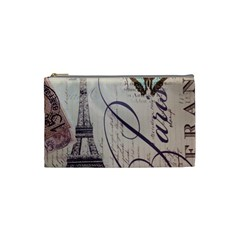 Vintage Scripts Floral Scripts Butterfly Eiffel Tower Vintage Paris Fashion Cosmetic Bag (small) by chicelegantboutique