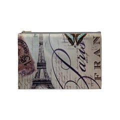 Vintage Scripts Floral Scripts Butterfly Eiffel Tower Vintage Paris Fashion Cosmetic Bag (medium) by chicelegantboutique