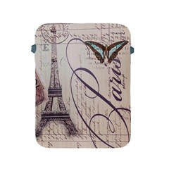Vintage Scripts Floral Scripts Butterfly Eiffel Tower Vintage Paris Fashion Apple Ipad 2/3/4 Protective Soft Case by chicelegantboutique
