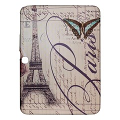 Vintage Scripts Floral Scripts Butterfly Eiffel Tower Vintage Paris Fashion Samsung Galaxy Tab 3 (10 1 ) P5200 Hardshell Case  by chicelegantboutique