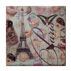 French Pastry Vintage Scripts Floral Scripts Butterfly Eiffel Tower Vintage Paris Fashion Ceramic Tile by chicelegantboutique