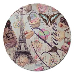 French Pastry Vintage Scripts Floral Scripts Butterfly Eiffel Tower Vintage Paris Fashion Magnet 5  (round) by chicelegantboutique