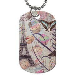 French Pastry Vintage Scripts Floral Scripts Butterfly Eiffel Tower Vintage Paris Fashion Dog Tag (two-sided)  by chicelegantboutique