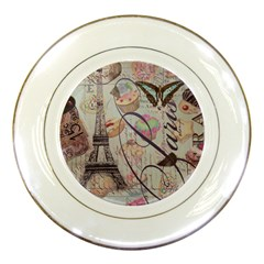 French Pastry Vintage Scripts Floral Scripts Butterfly Eiffel Tower Vintage Paris Fashion Porcelain Display Plate by chicelegantboutique