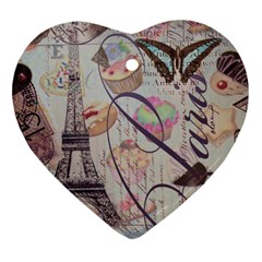 French Pastry Vintage Scripts Floral Scripts Butterfly Eiffel Tower Vintage Paris Fashion Heart Ornament (two Sides)