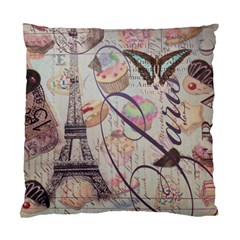 French Pastry Vintage Scripts Floral Scripts Butterfly Eiffel Tower Vintage Paris Fashion Cushion Case (single Sided)  by chicelegantboutique