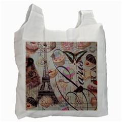 French Pastry Vintage Scripts Floral Scripts Butterfly Eiffel Tower Vintage Paris Fashion Recycle Bag (two Sides) by chicelegantboutique