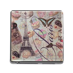 French Pastry Vintage Scripts Floral Scripts Butterfly Eiffel Tower Vintage Paris Fashion Memory Card Reader With Storage (square) by chicelegantboutique