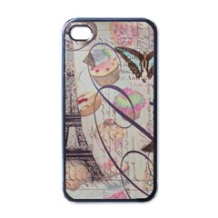 French Pastry Vintage Scripts Floral Scripts Butterfly Eiffel Tower Vintage Paris Fashion Apple Iphone 4 Case (black) by chicelegantboutique