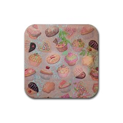 French Pastry Vintage Scripts Cookies Cupcakes Vintage Paris Fashion Drink Coasters 4 Pack (square) by chicelegantboutique