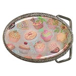 French Pastry Vintage Scripts Cookies Cupcakes Vintage Paris Fashion Belt Buckle (Oval) Front
