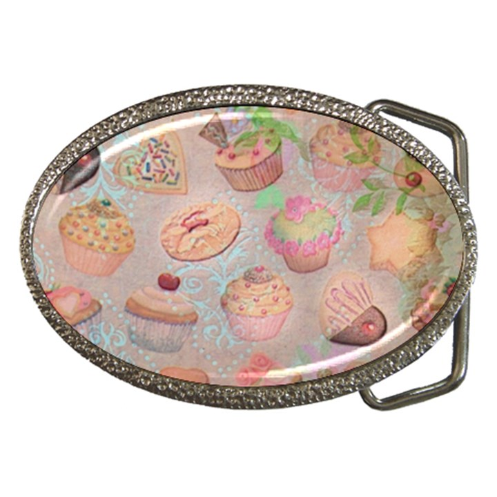 French Pastry Vintage Scripts Cookies Cupcakes Vintage Paris Fashion Belt Buckle (Oval)