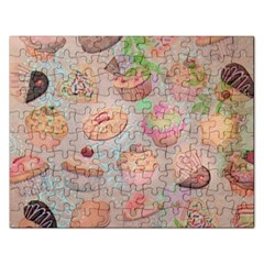 French Pastry Vintage Scripts Cookies Cupcakes Vintage Paris Fashion Jigsaw Puzzle (rectangle) by chicelegantboutique