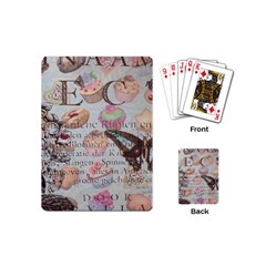 French Pastry Vintage Scripts Floral Scripts Butterfly Eiffel Tower Vintage Paris Fashion Playing Cards (mini) by chicelegantboutique