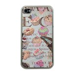 French Pastry Vintage Scripts Floral Scripts Butterfly Eiffel Tower Vintage Paris Fashion Apple iPhone 4 Case (Clear) Front