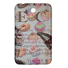 French Pastry Vintage Scripts Floral Scripts Butterfly Eiffel Tower Vintage Paris Fashion Samsung Galaxy Tab 3 (7 ) P3200 Hardshell Case  by chicelegantboutique