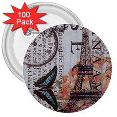 Vintage Clock Blue Butterfly Paris Eiffel Tower Fashion 3  Button (100 Pack)