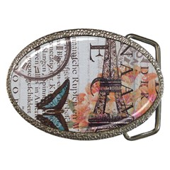 Vintage Clock Blue Butterfly Paris Eiffel Tower Fashion Belt Buckle (oval) by chicelegantboutique