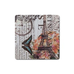 Vintage Clock Blue Butterfly Paris Eiffel Tower Fashion Magnet (square) by chicelegantboutique