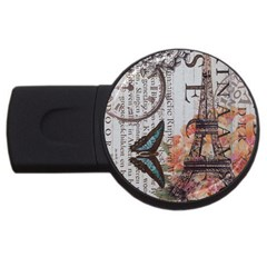 Vintage Clock Blue Butterfly Paris Eiffel Tower Fashion 4gb Usb Flash Drive (round) by chicelegantboutique
