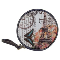 Vintage Clock Blue Butterfly Paris Eiffel Tower Fashion Cd Wallet by chicelegantboutique