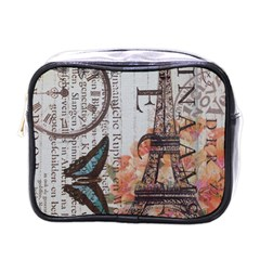 Vintage Clock Blue Butterfly Paris Eiffel Tower Fashion Mini Travel Toiletry Bag (one Side) by chicelegantboutique