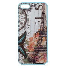 Vintage Clock Blue Butterfly Paris Eiffel Tower Fashion Apple Seamless Iphone 5 Case (color) by chicelegantboutique