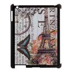 Vintage Clock Blue Butterfly Paris Eiffel Tower Fashion Apple Ipad 3/4 Case (black) by chicelegantboutique