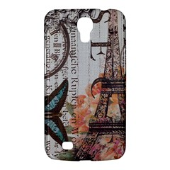 Vintage Clock Blue Butterfly Paris Eiffel Tower Fashion Samsung Galaxy Mega 6 3  I9200 by chicelegantboutique