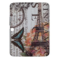 Vintage Clock Blue Butterfly Paris Eiffel Tower Fashion Samsung Galaxy Tab 3 (10 1 ) P5200 Hardshell Case  by chicelegantboutique
