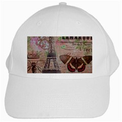 Girly Bee Crown  Butterfly Paris Eiffel Tower Fashion White Baseball Cap by chicelegantboutique