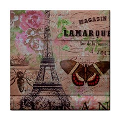 Girly Bee Crown  Butterfly Paris Eiffel Tower Fashion Ceramic Tile by chicelegantboutique