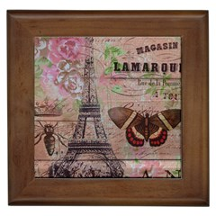 Girly Bee Crown  Butterfly Paris Eiffel Tower Fashion Framed Ceramic Tile by chicelegantboutique