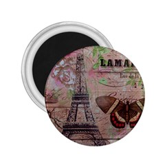 Girly Bee Crown  Butterfly Paris Eiffel Tower Fashion 2 25  Button Magnet by chicelegantboutique