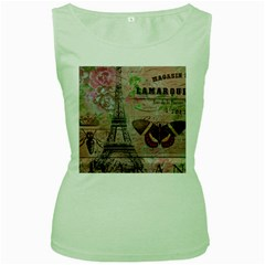 Girly Bee Crown  Butterfly Paris Eiffel Tower Fashion Womens  Tank Top (green) by chicelegantboutique
