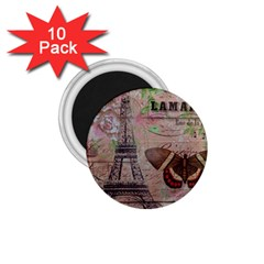 Girly Bee Crown  Butterfly Paris Eiffel Tower Fashion 1 75  Button Magnet (10 Pack) by chicelegantboutique