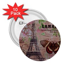 Girly Bee Crown  Butterfly Paris Eiffel Tower Fashion 2 25  Button (10 Pack) by chicelegantboutique
